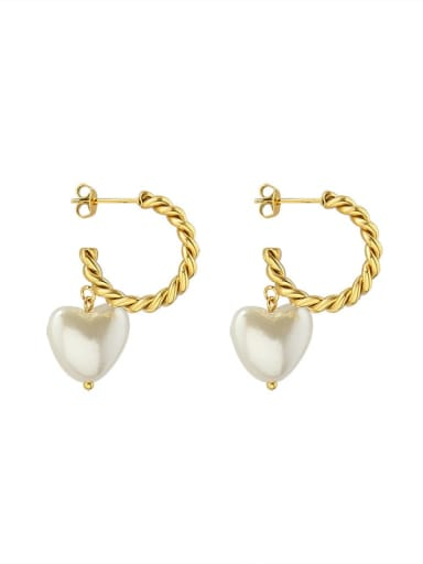 gold Titanium 316L Stainless Steel Freshwater Pearl Heart Minimalist Drop Earring with e-coated waterproof