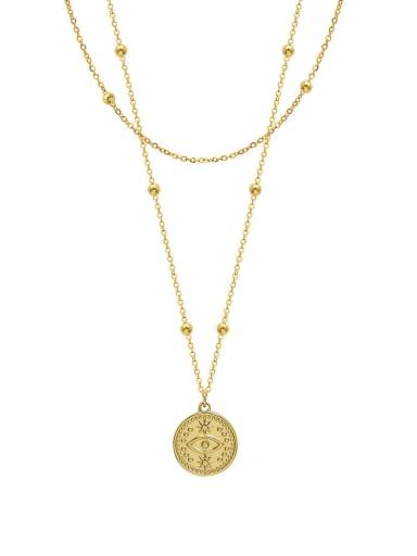 P058 gold double layer Necklace Titanium Steel Geometric Minimalist Multi Strand Necklace