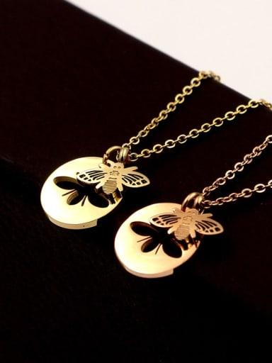 Titanium  Hollow  Bee Minimalist pendant Necklace