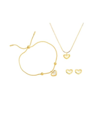 Titanium 316L Stainless Steel  Minimalist Shell Heart  Earring Braclete and Necklace Set with e-coated waterproof