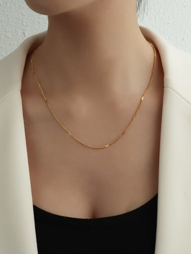 Short gold Titanium 316L Stainless Steel Tassel Minimalist Lariat Necklace with e-coated waterproof