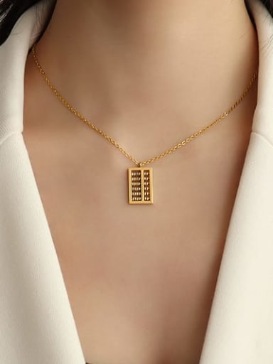 Gold 40+5cm Titanium 316L Stainless Steel Bead Geometric Vintage Necklace with e-coated waterproof