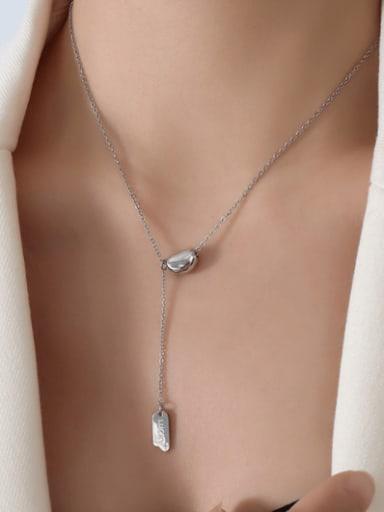 P329 Steel  40 +5cm Titanium Steel Geometric Minimalist Lariat Necklace