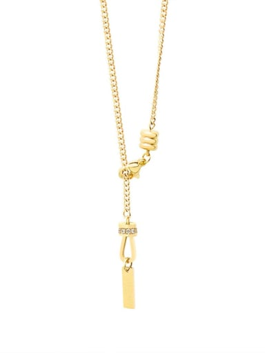golden Titanium 316L Stainless Steel Tassel Minimalist Lariat Necklace with e-coated waterproof