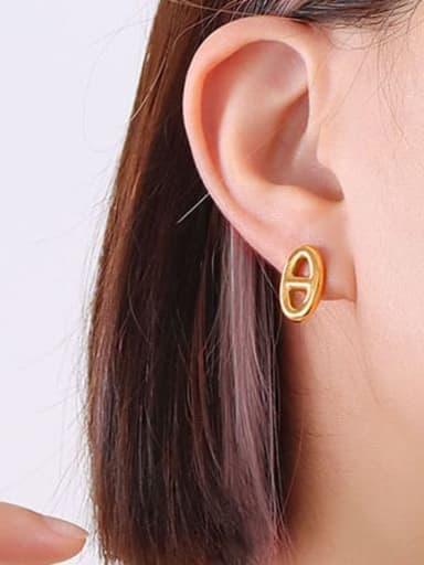 F364 gold earrings pair Titanium Steel Minimalist Geometric  Earring and Necklace Set