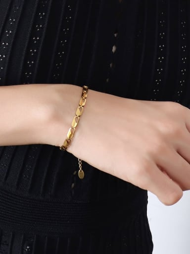 E050 gold bracelet Titanium Steel Minimalist Irregular Braclete and Necklace Set