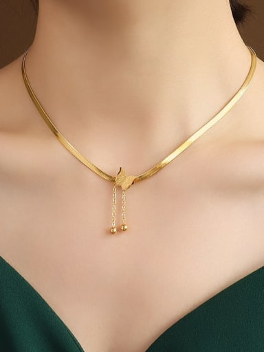 golden  40+5cm Titanium 316L Stainless Steel Bead Butterfly Vintage Tassel Necklace with e-coated waterproof