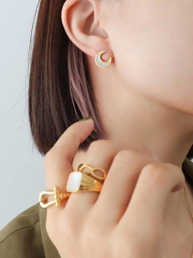 F548 golden moon 40+ 5cm Titanium Steel Minimalist Moon  Shell Earring and Necklace Set