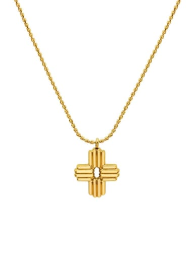 Titanium 316L Stainless Steel Cross Vintage Regligious Necklace with e-coated waterproof