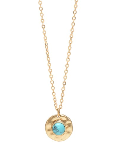 Green Alloy coin turquoise women's necklace European and American fashion clavicle chain