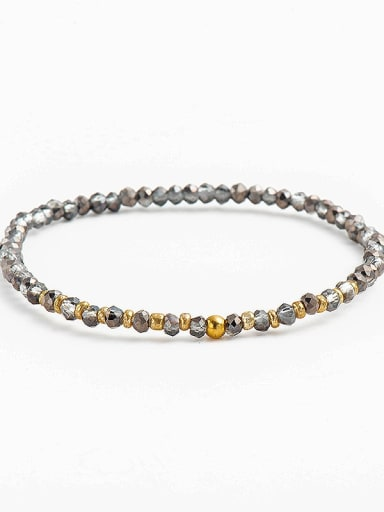 Color 3 Stainless steel    Retro wolf's fang Pendant Beaded Stretch Bracelet