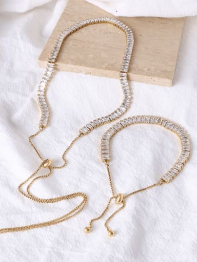 Titanium Steel Cubic Zirconia Vintage Tassel  Braclete and Necklace Set