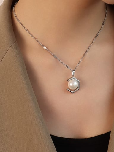 Stainless steel Imitation Pearl  Vintage Geometric Earring and Necklace Set with e-coated waterproof
