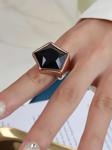 A079 rose gold Titanium 316L Stainless Steel Obsidian Geometric Vintage Band Ring with e-coated waterproof