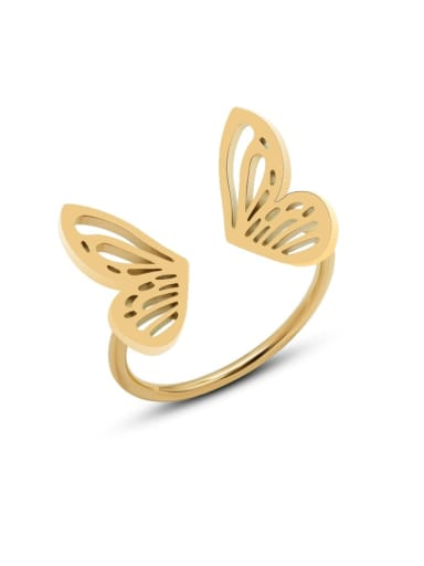 Titanium Steel Hollow Butterfly Minimalist Band Ring