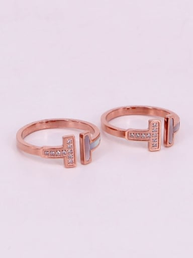 Titanium Letter Cubic Zirconia Letter Dainty Band Ring