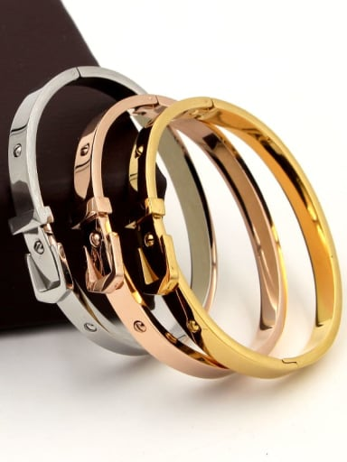 Titanium  Belt Geometric Dainty Bangle