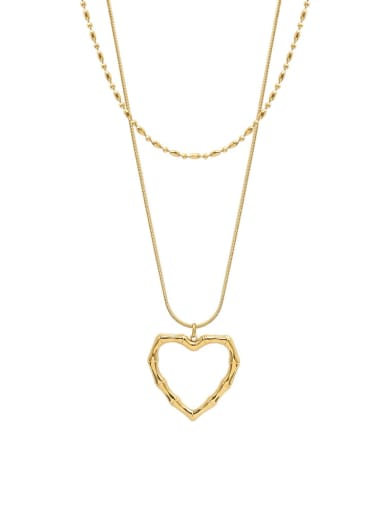 P1130 gold double layer Necklace Titanium Steel Heart Minimalist Multi Strand Necklace