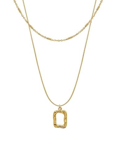 P1129 gold Titanium Steel Geometric Minimalist Multi Strand Necklace