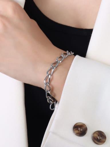 E046 steel bracelet 18cm Titanium Steel Geometric Hip Hop Bracelet