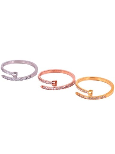 Titanium Steel Cubic Zirconia Geometric Minimalist Band Ring
