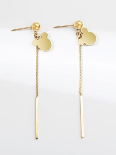Mouse stainless steel long chain earrings