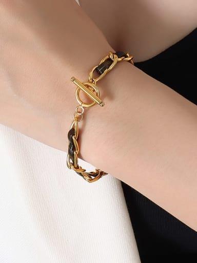 E271 gold bracelet 18cm Titanium Steel Hip Hop Geometric Leather Braclete and Necklace Set
