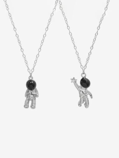 Titanium Steel Obsidian Irregular Minimalist Necklace
