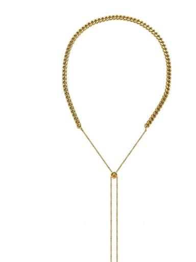 P1126 gold necklace Titanium Steel Hip Hop Tassel  Braclete and Necklace Set