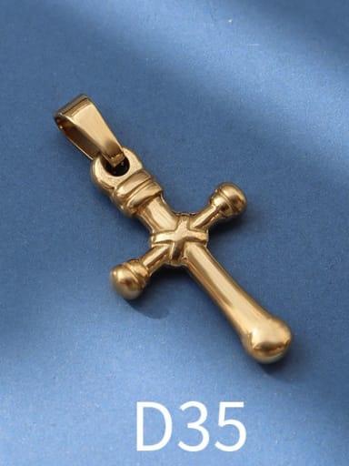 D35 gold Titanium Steel Vintage  Cross Pendant