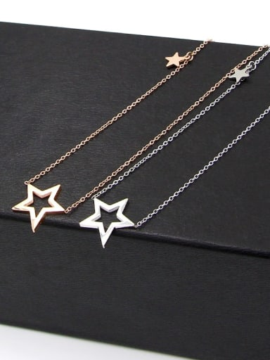 Titanium Hollow  Star Minimalist  pendant Necklace