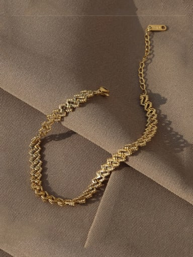 Gold Anklet 19+5cm Titanium 316L Stainless Steel Irregular Minimalist  Anklet with e-coated waterproof