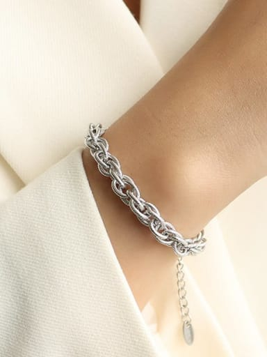 E228  twist chain steel color Bracelet Titanium Steel Vintage Irregular  Braclete and Necklace Set