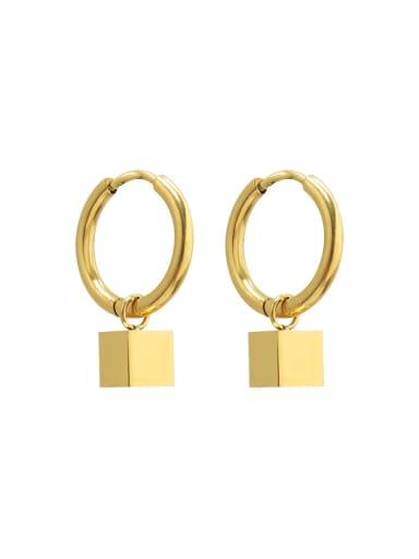 F505 gold Titanium Steel Geometric Minimalist Huggie Earring