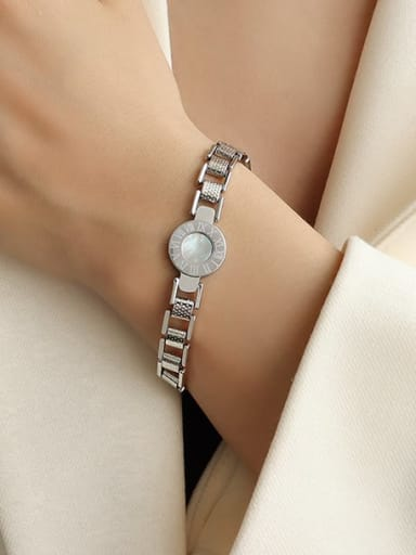 steel color Titanium 316L Stainless Steel Roman Numeral Watch Plate Couple Shell Bracelet with e-coated waterproof