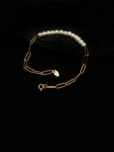 E122 Bracelet Gold 22cm Titanium 316L Stainless Steel Imitation Pearl Minimalist Irregular  Braclete and Necklace Set with e-coated waterproof