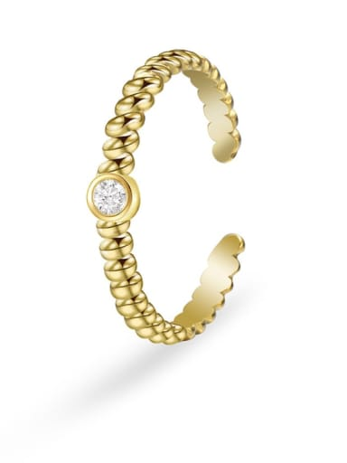 Gold Stainless steel Rhinestone Geometric Minimalist Band Ring