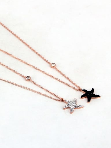 Titanium Rhinestone Star Minimalist pendant Necklace