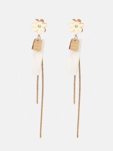Sunflower square tassel thin titanium steel earrings