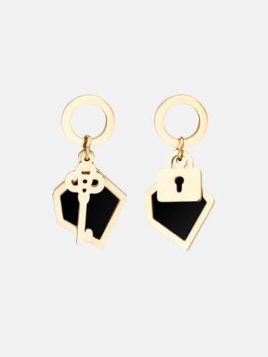 Key lock inlaid shell stainless steel earrings