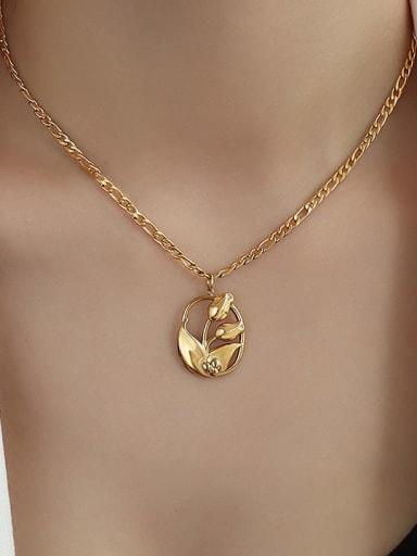 P1095 gold  40 +5cm Titanium Steel Flower Hip Hop Necklace