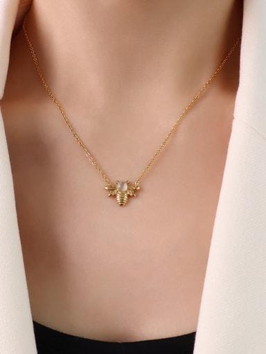 P1103 gold  40 +5cm Titanium Steel Cats Eye Bee Hip Hop Necklace