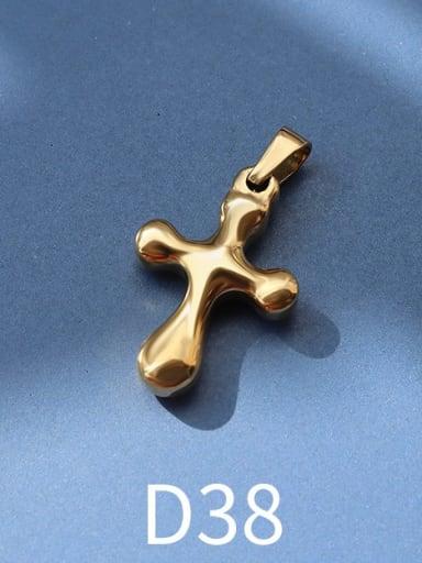 D38 gold Titanium Steel Vintage  Cross Pendant