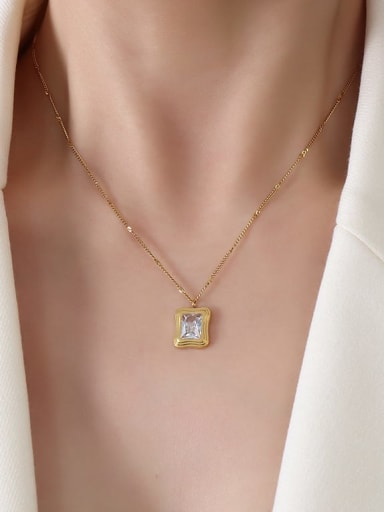 P201 gold necklace Titanium Steel Cubic Zirconia Vintage Geometric  Earring and Necklace Set