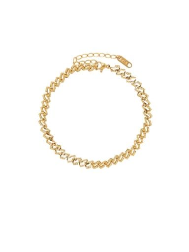 Titanium 316L Stainless Steel Irregular Minimalist  Anklet with e-coated waterproof