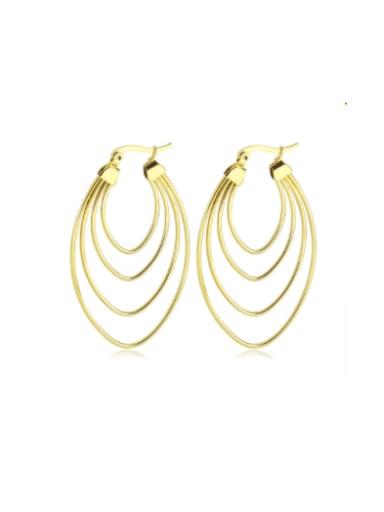 Gold Titanium Steel Geometric Minimalist Huggie Earring