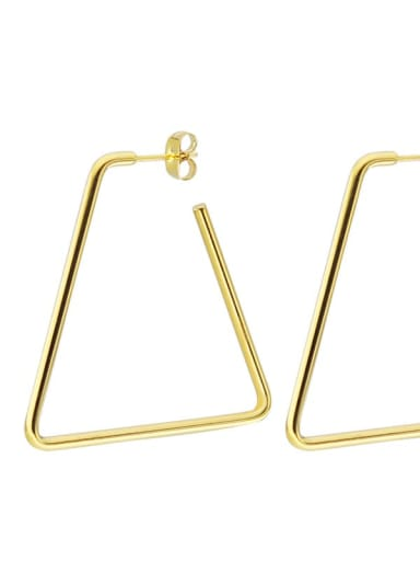 Trapezoidal gold (40mm pair) Titanium Steel Geometric Minimalist Huggie Earring