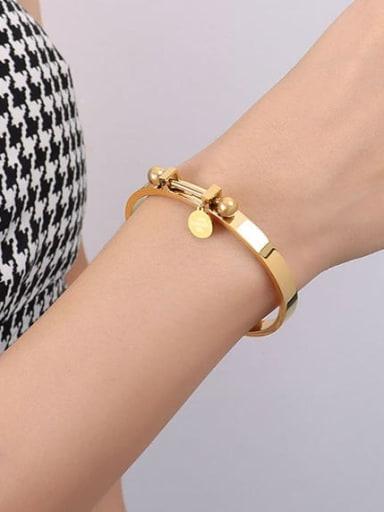 Z111 gold bracelet 17cm Titanium Steel Geometric Hip Hop Band Bangle