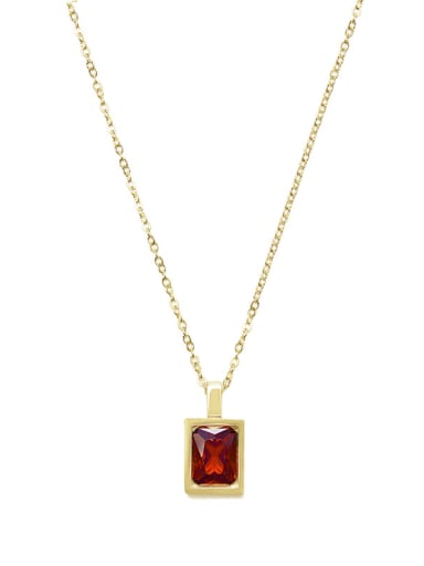 Light luxury compact French square color zirconium necklace