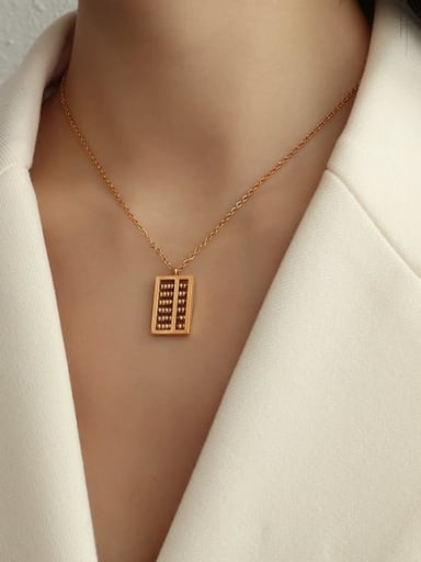 Rose gold 40+5cm Titanium Steel Bead Geometric Vintage Necklace